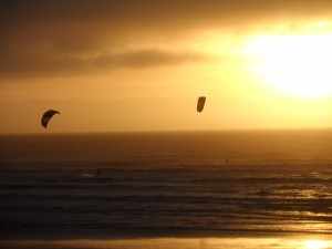 two kitesurfers